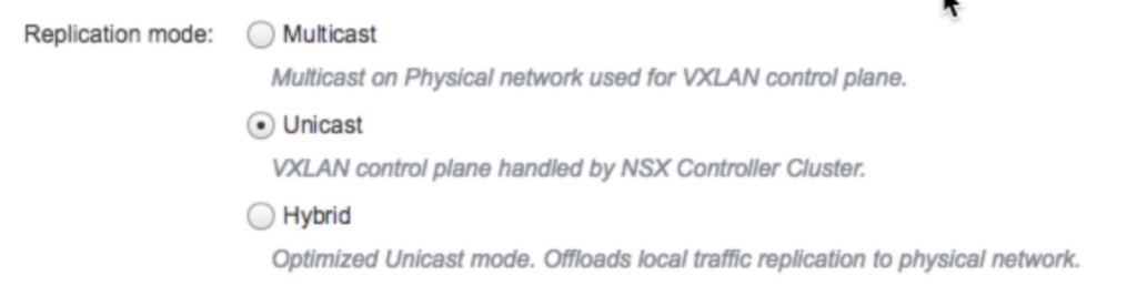 NSX VXLAN Control Plane Replication Modes Design Decision
